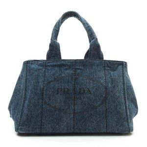 Auth Prada Tote Bag Navy Blue Denim #N73498P74